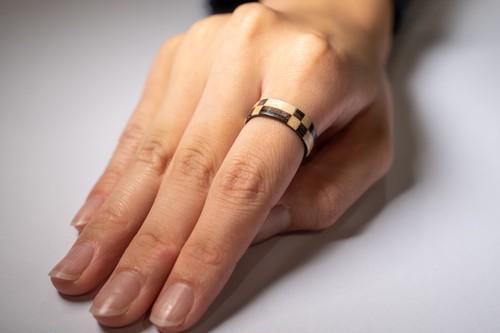 【木の指輪】絢-aya- 市松【ベントウッドリング】