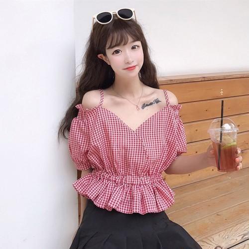 【トップス】スウィートファッション春夏Vネック切り替えパフスリーブ半袖シャツ