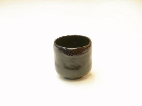 楽焼 松楽 作 筒茶碗 黒