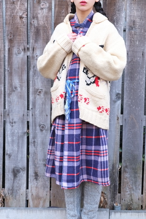 vintage/asayake check gown.