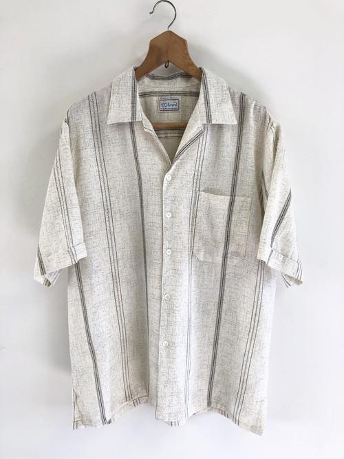 Splashed Pattern Stripe Open Collar Shirt
