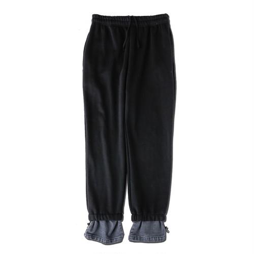 DENIM LAYERD SWEAT PANTS / BLACK
