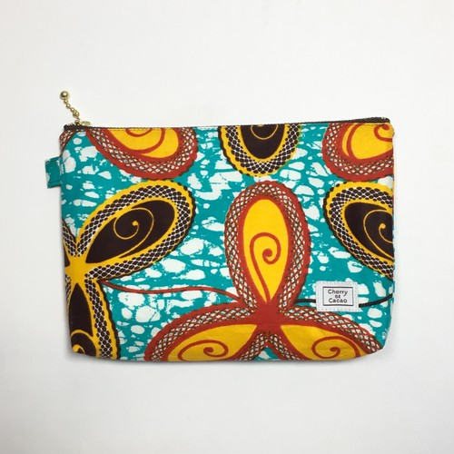 ポーチ アフリカンテキスタイル(日本縫製)「三ツ葉」ターコイズブルー イエロー レッド ダークブラウン |アフリカ エスニック ガーナ布