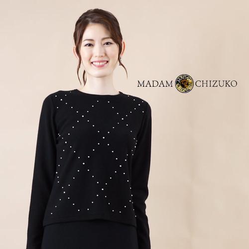 MADAM CHIZUKO / パールビーズ編込み丸首プルオーバー / カシミヤ100%(イタリア糸使用)