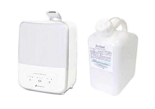 超音波噴霧器MX-200適用床面積約14畳用、50ppm微酸性次亜塩素酸水「除菌ジアカインド」 5Lセット ノズル付き
