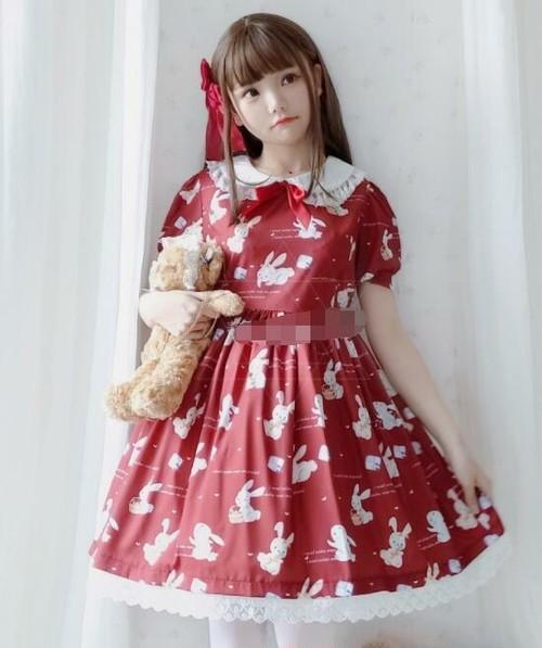 9902ロリータ衣装 ロリータ服 レディース 可愛い 少女風 ワンピース 半袖 lolita レトロ