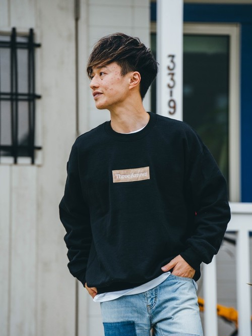 【2/10(wed)21:00販売開始】ThreeArrows BOX 刺繍LOGO SWEAT(black)