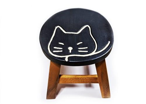 ウッドスツール 太っちょネコ 黒猫