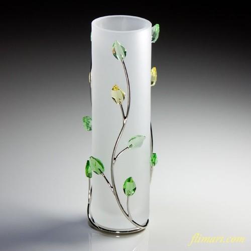 スワロフスキークリスタルの葉花瓶T1276