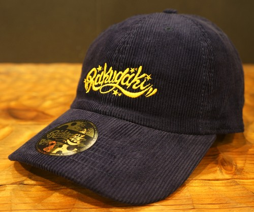 RAKUGAKI 2017 Corduroy Main Logo Dad Cap Navy x Yellow Gold