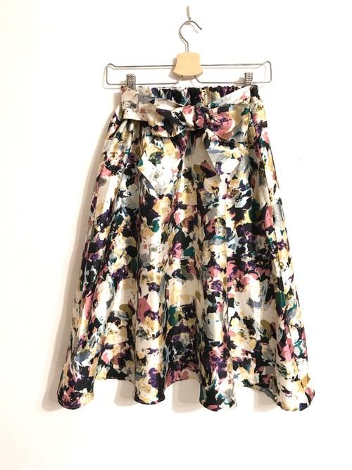 シャンタン素材リボン付き花柄スカート ピンク