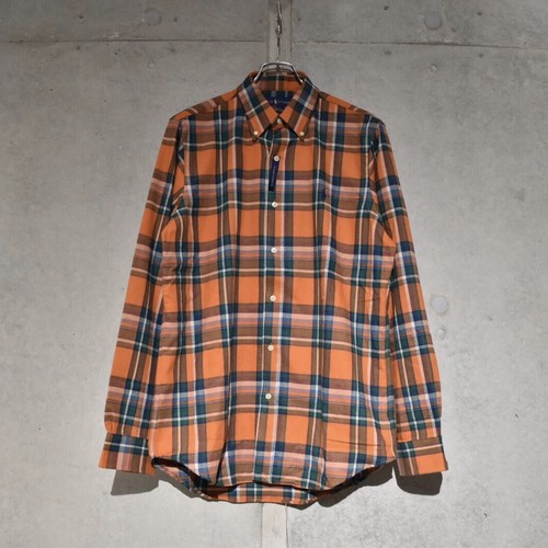 POLO RALPH LAUREN CLASSIC FIT FLANNEL CHECK SHIRT / ORANGE