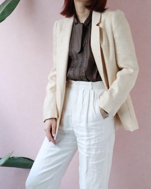 I. Magnin tailored beige Linen jacket