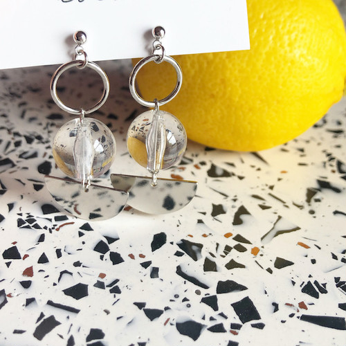 """cocoiro """"clear × silver"""" ピアス"""