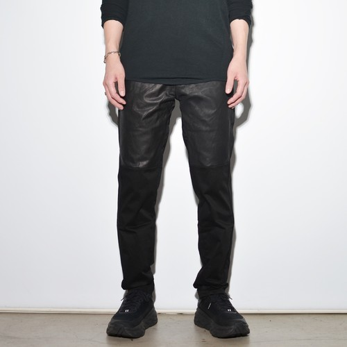 "Leather×Cotton ""Straight""Pants 〈Black〉"