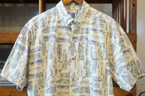 "80's HOOK & TACKLE fish-print s/s Shirt ""Made in U.S.A."""