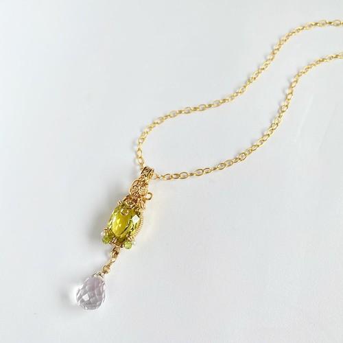 Lemon quartz&Clear quart Wire jewelry