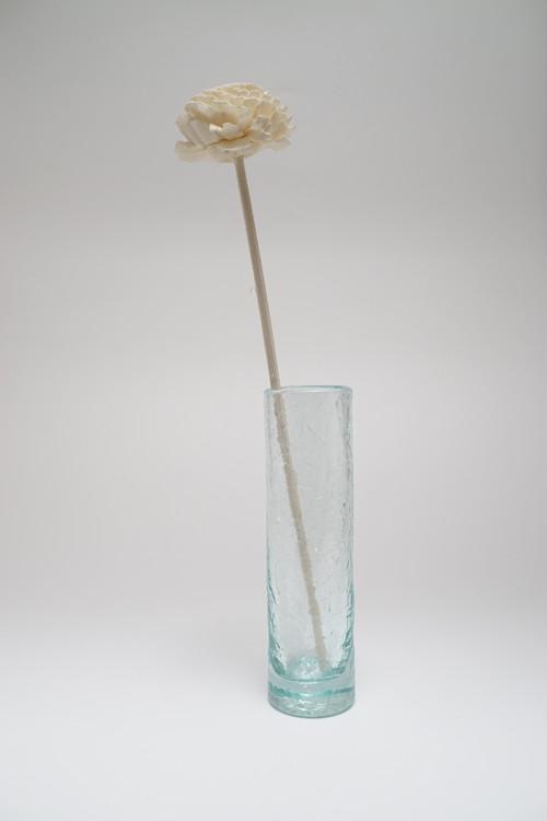 ガラスが割れたような美しい輝きのクラックガラスの花瓶 バリグラス ガラスフラワーベース ガラスベース