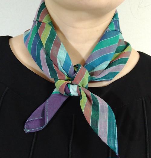バングラデシュ手織り棉スカーフ 縞模様