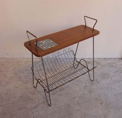 70's Holland Side Table with Magazine Rack