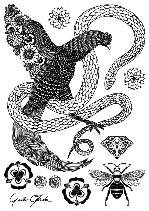 Fabric Sticker <Cock & Snake> A4 size