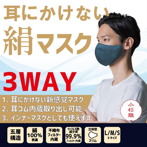 【医療用テープで貼るだけ】耳にかけない絹マスク 耳ゴムも内蔵で安心 インナーマスクとしても可能