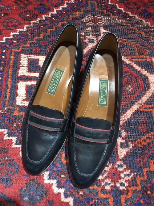 GUCCI RETRO LEATHER HEEL PUMPS MADE IN ITALY/グッチレトロレザーヒールパンプス