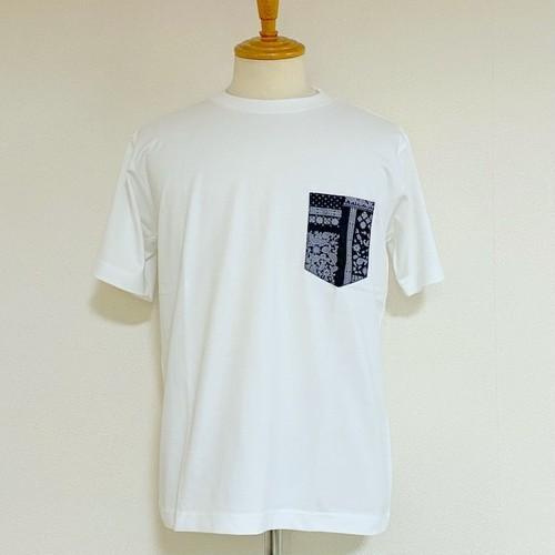 Paisley Pocket Crew Neck T-shirts Navy