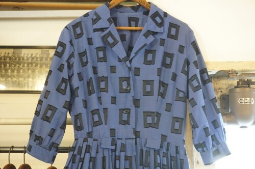 40-50's square patterned open collar shirt Dress