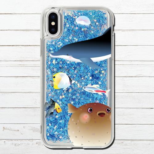#000-018 iPhoneケース 人気 女子 韓国風 グリッター ケース セール iPhoneXS/X かわいい 海 イルカ 熱帯魚 おしゃれ iPhone6/6s/7/8 (iPhoneシリーズのみ対応・iPhonePlus非対応) タイトル:煌めく海の中で