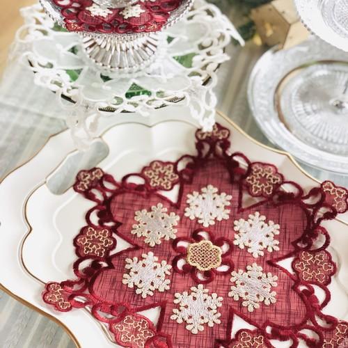 雪の結晶カットワーククリスマスドイリー 2カラー
