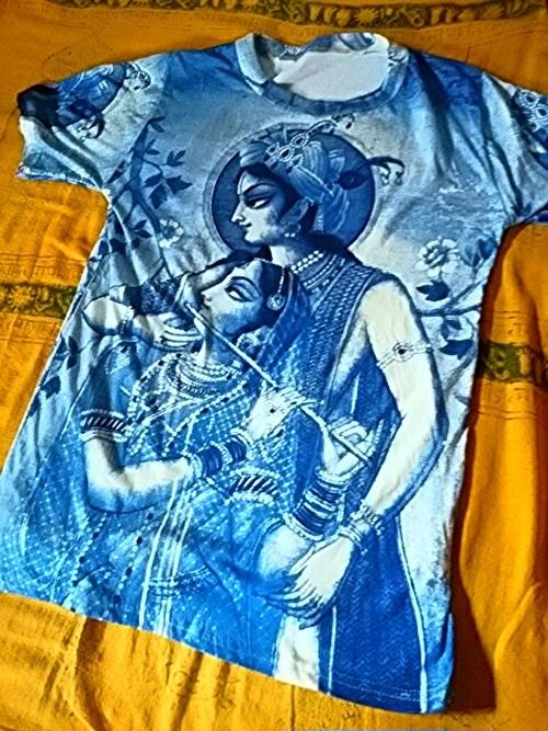 商品番号t-11神様Tシャツ【クリシュナとラーダー(青)】(Size:フリーサイズ・M~L程度)