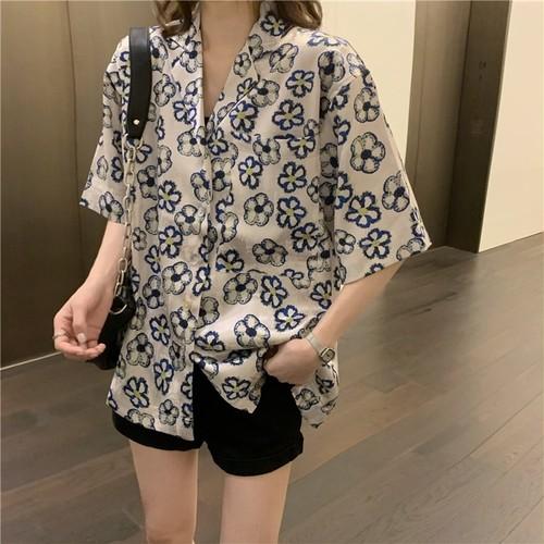 ゆったり 夏 オシャレ 折り襟 半袖 カジュアル ハナ 可愛い シャツ・トップス