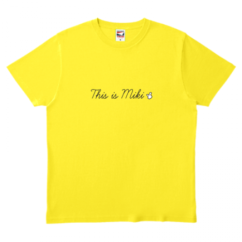 This is MIKI 筆記体(黄) Tシャツ