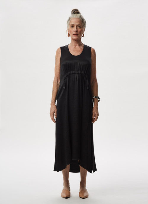 VISCOSE DRESS WITH FRONT GATHERING