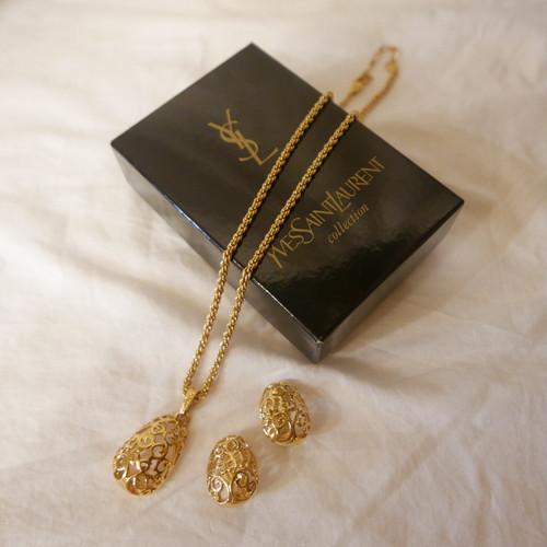 """YSL """"Arabesque"""" Earclip & Necklace Set"""