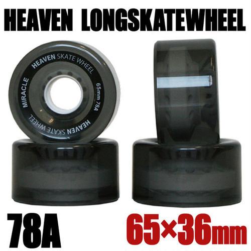 ヘブン ロングスケボー ウィール クリアブラック ロゴ入り 65×36mm 78A