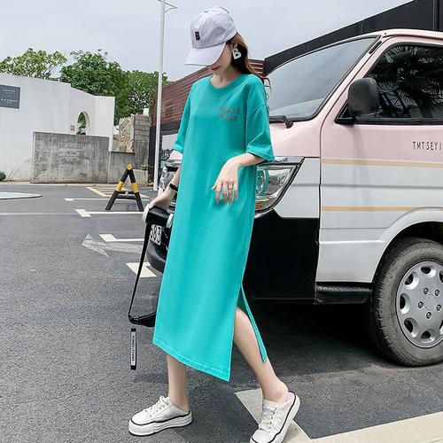 【dress】合わせやすいカジュアル大好評文字プリントTシャツワンピース  M-0298