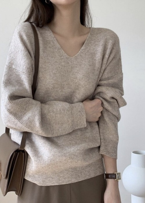 mixcolor wool rib knit(oatmeal)