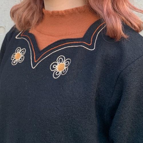 (LOOK) frill neck l/s knit tops