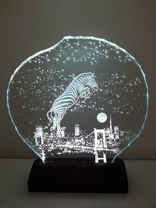 星降る夜・シマウマ・レインボーブリッジ ガラスエッチングパネル Mサイズ・LEDスタンドセット(ランプ・ライト・照明)