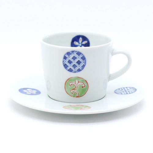 染錦丸紋つなぎカップ&ソーサー