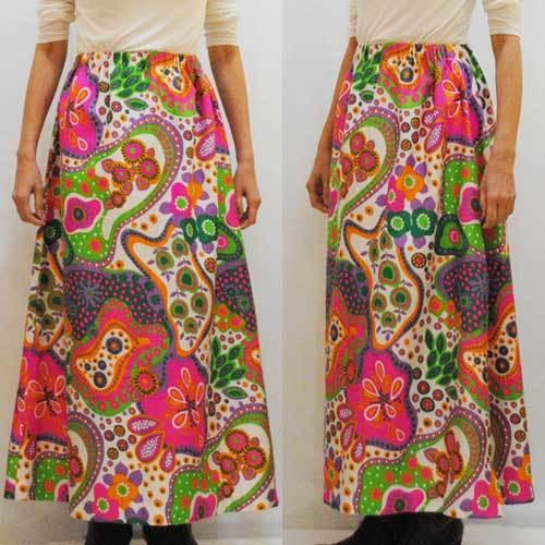 M~XLサイズ【アメリカ製古着】1960年代ヴィンテージ◆カラフルポップなサイケフラワー◆マキシ丈スカート