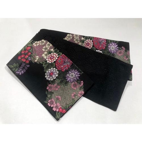 新品*黒地に藤や桜、菊や撫子の華丸模様 半幅帯 0245