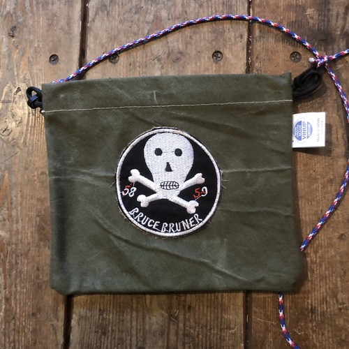Vintage Tent Cloth Sacoche with patch, Skull