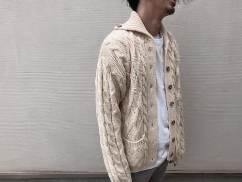 Dead Stock ENGLAND製 Aran Knit Cardigan