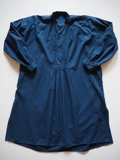 【ドイツ】 アンティークコットンスモックシャツ [染物/青藍色]