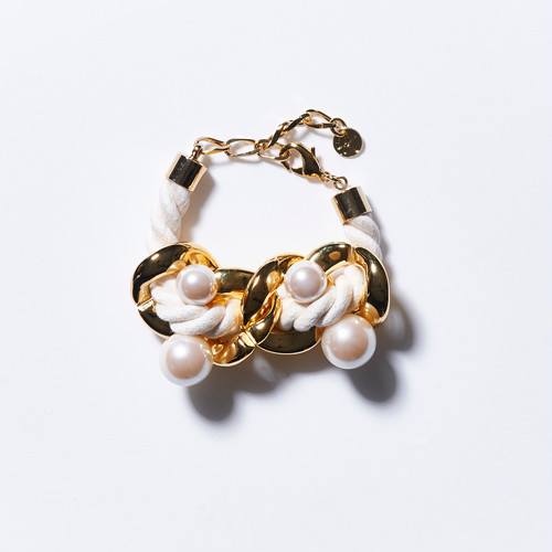BIG CHAIN PEARL BRACELET (WHITE)