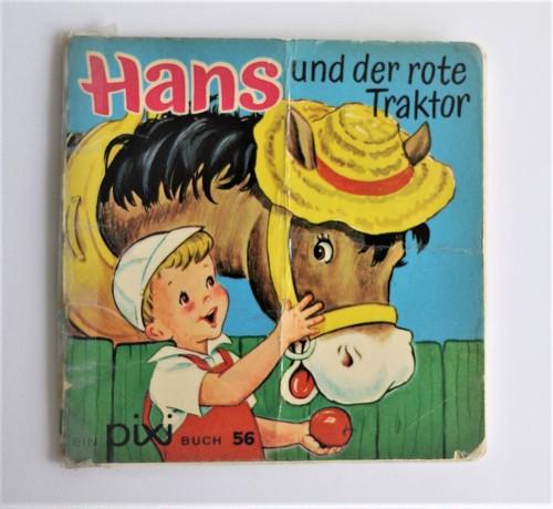 ヴィンテージミニ絵本 ハンスと赤いトラクター ピクシー絵本 手のひら絵本