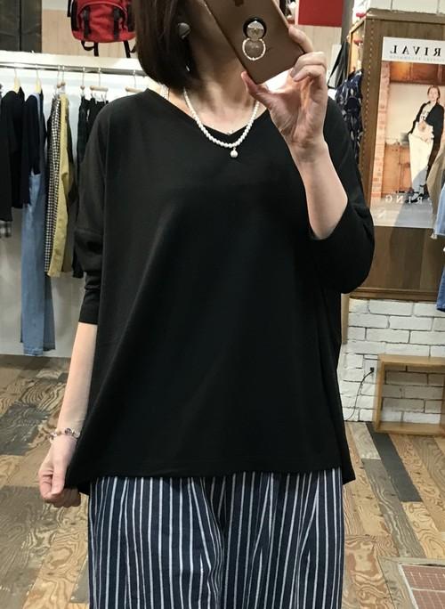 七分袖カットソー(ブラック)